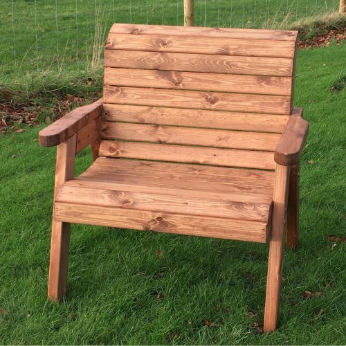 Hand Made Traditional Chunky Rustic Wooden Garden Extra Wide Chair Furniture On