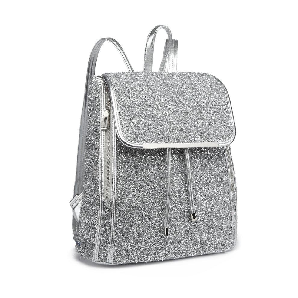 b9dd2f5c1 ... Miss Lulu Women Glitter Backpack Girls School Bag Fashion Rucksack - 1  ...