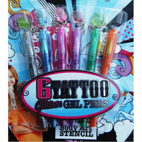 5pc Temporary Tattoo Gel Pen Set | Stocking Filler Glitter Gel Pens