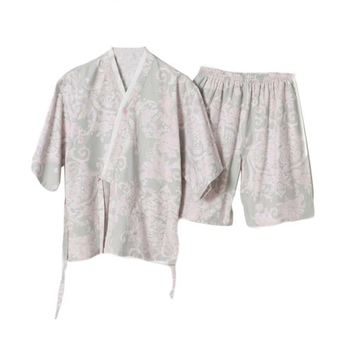 Cotton Khan Steam Clothes Short Pajamas Suit Kimono Style Flora Pattern Loungewe