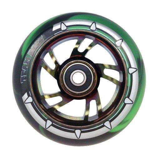 Team Dogz Green Black PU Rainbow Core 100mm Alloy Scooter Wheel
