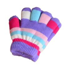 Multicolor Winter Warm Knit Gloves Plush-lined Mittens for Kids, #03