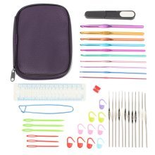 42pcs Aluminum Crochet Hooks Kit Tapestry Craft Weave Yarn Knitting Needles Sewing Tools Case