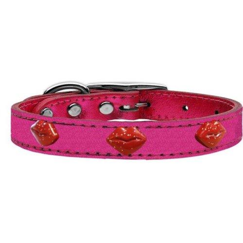 Mirage Pet 83-73 PkM26 Red Glitter Lips Widget Genuine Metallic Leather Dog Collar, Pink - Size 26