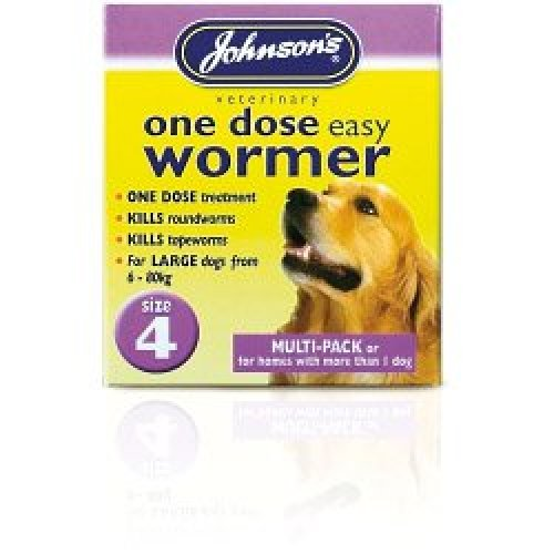 Size 4 One Dose Dogs Easy Wormer - Johnsons Tablets Dog -  johnsons wormer dose one easy tablets dog size 4 dogs
