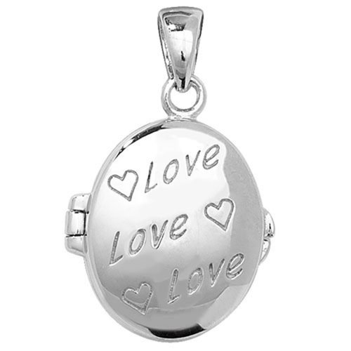 Childrens Sterling Silver Love Oval Locket On A Curb Necklace