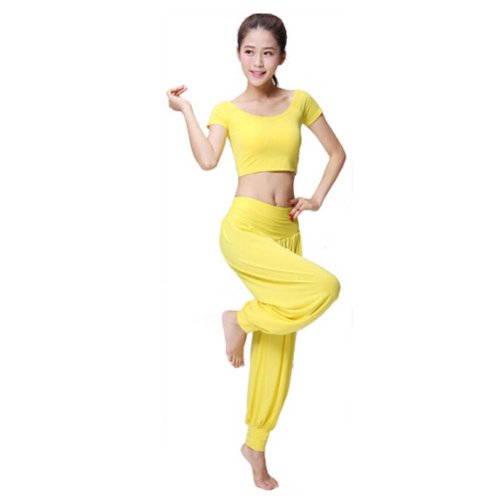 Best Yoga Apparel Sexy Yoga Yellow Pant Gym Clothes Dance Outfit Fitness Suit