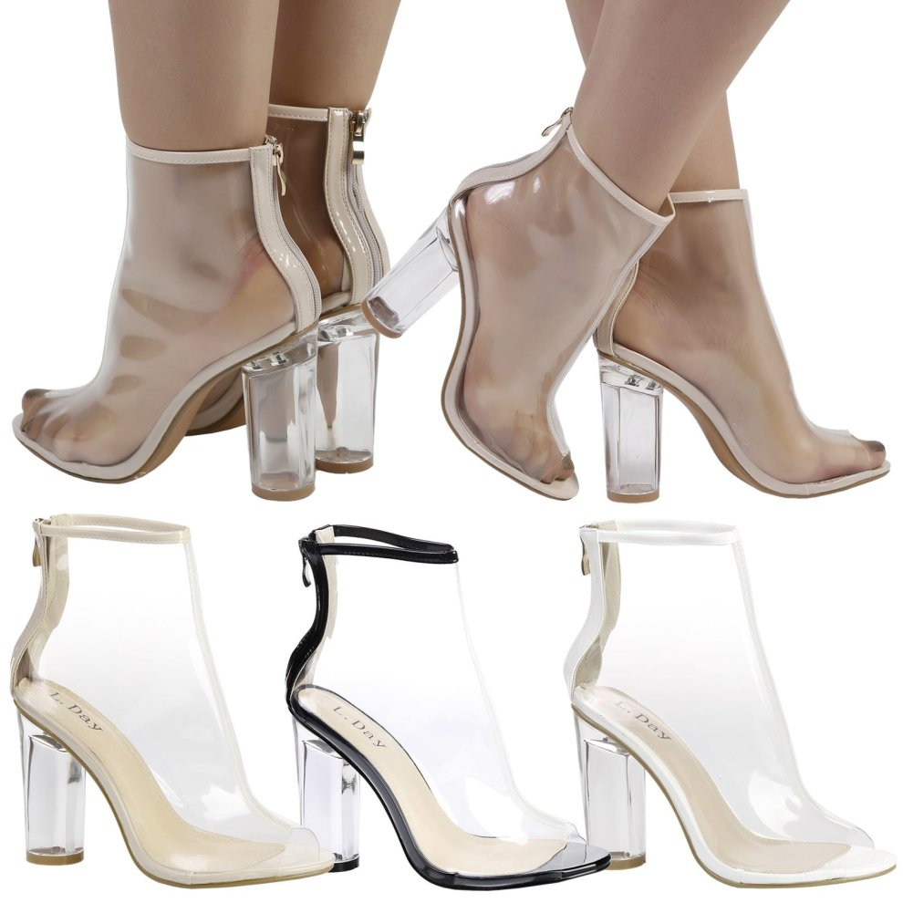 12cddbec1d7 Aisha Womens High Block Heel Clear Perspex Peep Toe Ankle Boots on OnBuy