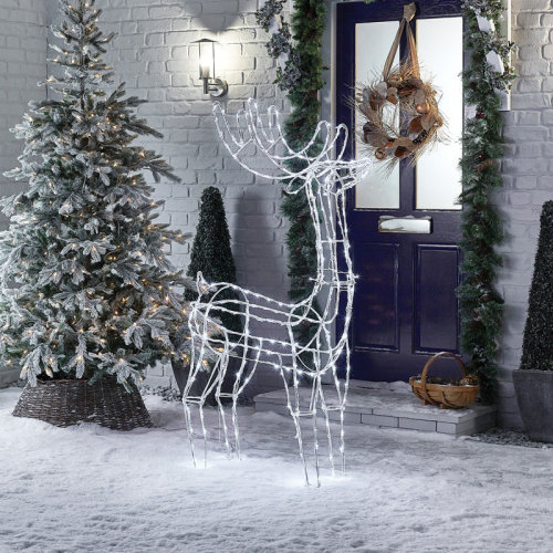 Premier Decorations - Mains Operated Indoor & Outdoor Acrylic Standing Reindeer Christmas Figure