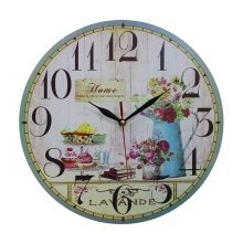 Obique Home Decoration MDF Cupcakes and Flowers Scene Wall Clock 34 cm