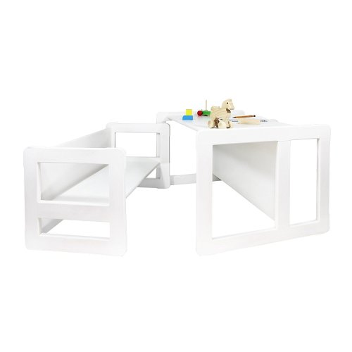 Obique Multifunctional Furniture Set of 2, 1 Bench & 1 Table, White