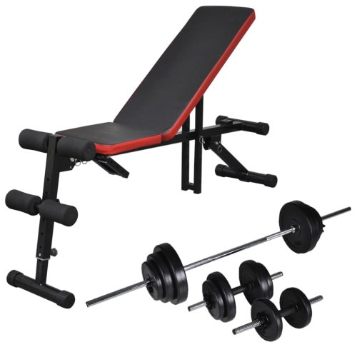 vidaXL Adjustable Sit-up Bench with Barbell and Dumbbell Set 30.5kg Fitness