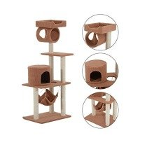Pawhut Cat Tree Kitten Scratch Climb Post Activity Center Play House 140cm