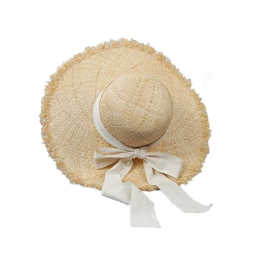 Womens Floppy Straw Hat With White Bow Wide Brim Sun Visor Summer Beach UV Protection