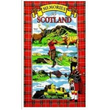 Memories of Scotland Tea Towels Souvenir Gift Scottish Tartan Edinburgh Castle
