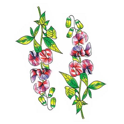 2 Sheets Colorful Flowers Temporary Tattoos Abdomen Makeup Art Stickers Simulation Tattoos Tattoo Sticker