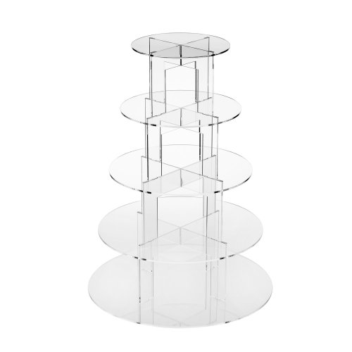 TRIXES Clear Circular 5 Tier Cake Stand Baking Display Cupcakes Stand Occasions