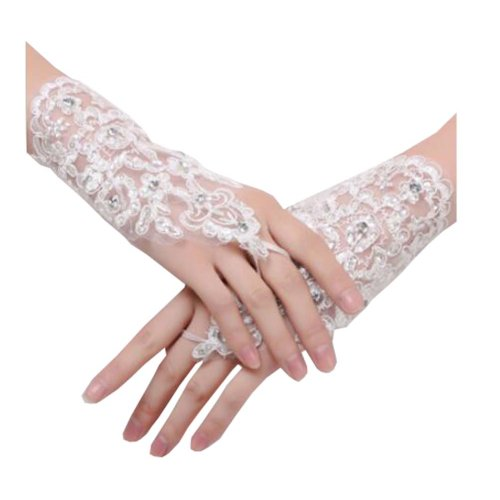 Girls/ Ladies Lace Bridal Bride Short Gloves Wrist Wedding Party Costume Prom,C