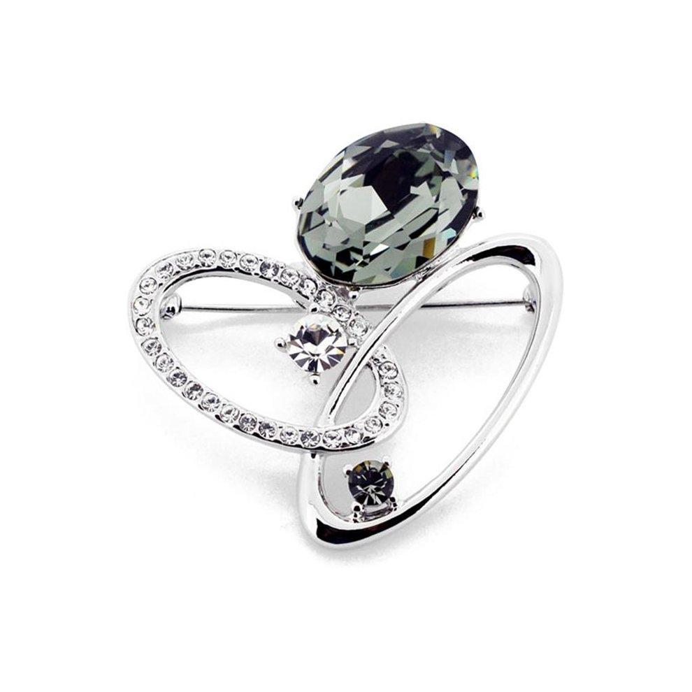 Fantasyard Oval Swarovski Crystal Pin Brooch - Grey - 1 625 x 1 625 in