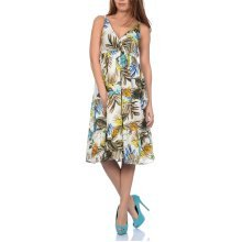 Pistachio, Ladies Cross Front Floral Summer Holiday Dress, Green and Blue, X-Large (UK 20-22)