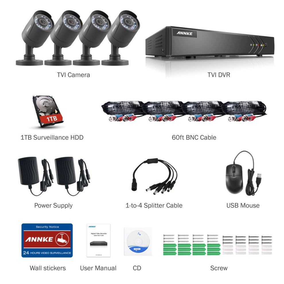 ANNKE CCTV Camera System 8+2CH 1080P Lite HD TVI 5-IN-1 DVR Kit w/ 1TB  Surveillance HDD and 4x 720P Weatherproof Bullet Cameras, Motion Detect