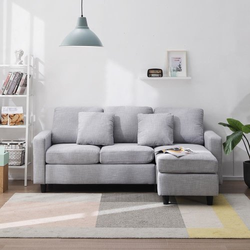 3 Seat L Shaped Linen Fabric Corner Sofa (Grey) on OnBuy
