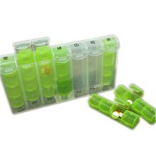 Four-A-Day Weekly One Day At A Time, Clear 28 Compartment Portable Pill Box