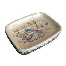European Style Retro Ceramic Soap Box Rectangle Soap Holder for Toilet, Peacock