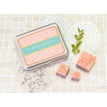 Creative Letter Stamps Forest Animal Custom Rubber Stamps Set of 13 with Tin Box