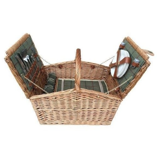4 Person Green Tweed Double Lidded Fitted Picnic Basket