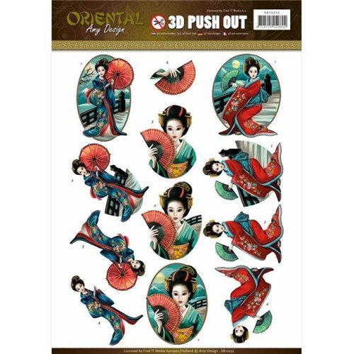 Find It Trading SB10252 Amy Design Sounds Of Music Punchout Sheet - Oriental Geishas