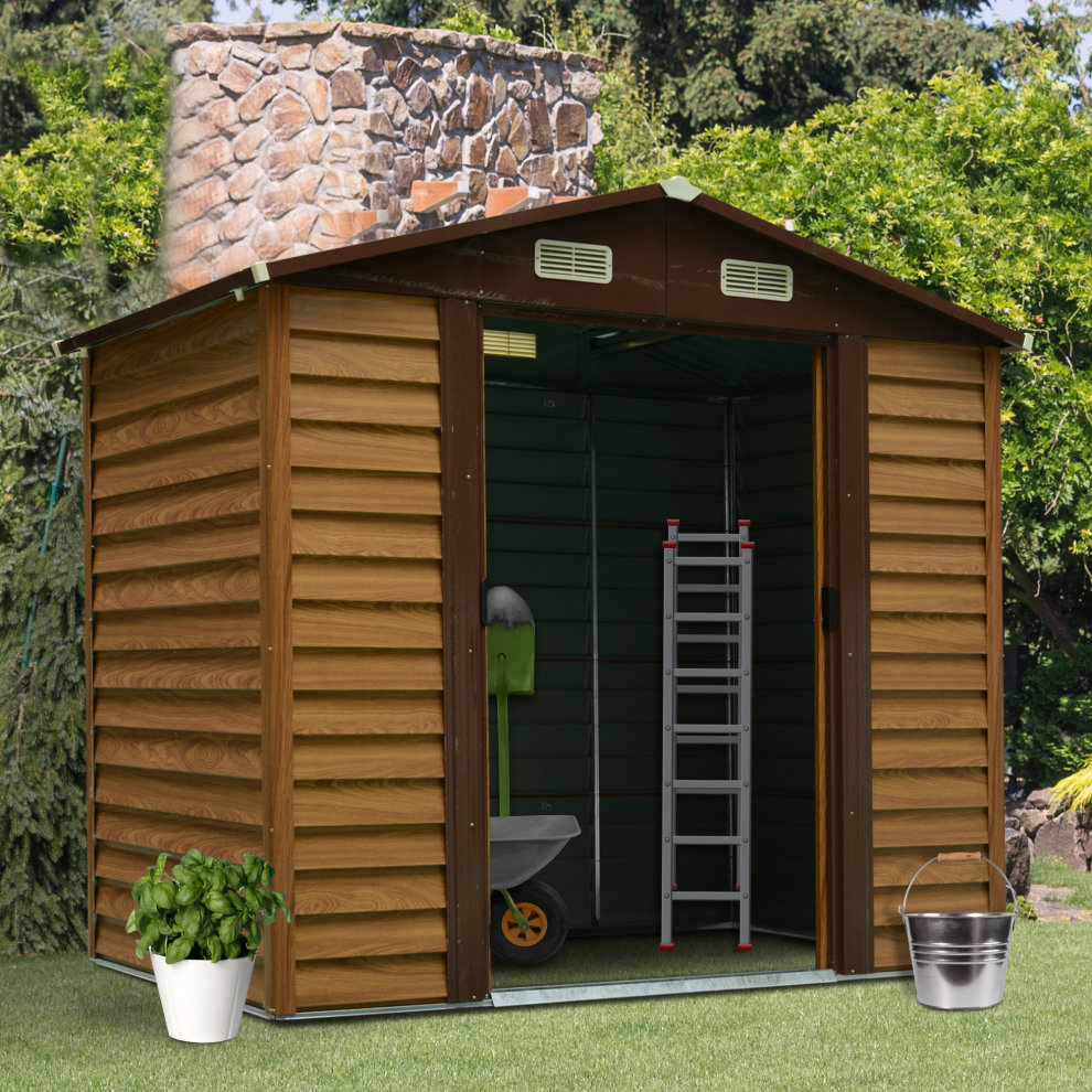 Outsunny 6 x 7 ft Outdoor Metal Garden Shed House Hut ...