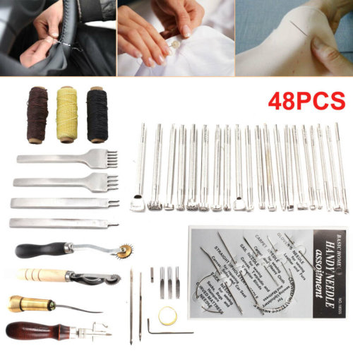 48Pcs Leather Craft Tools Sewing Stitching Punch Carving Work Saddle GrooverKit