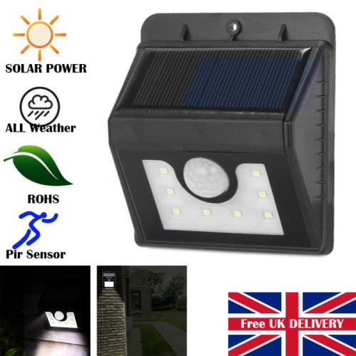 8 LED PIR Motion Sensor Solar Powered Outdoor Wall Lamps Security Flood Light