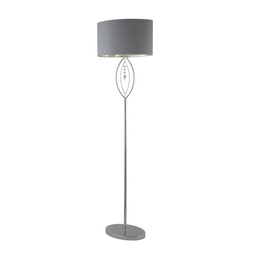 Searchlight Crown Chrome Floor Lamp Grey Oval Shade With Silver Interior