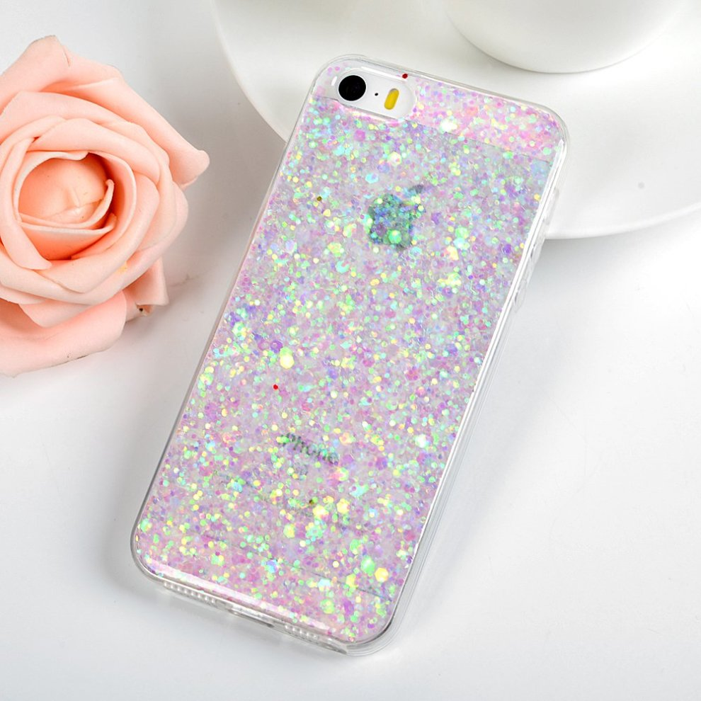 new arrival d015e 4d605 iPhone SE Case Glitter, iPhone 5S Case Silicone, LANVY Clear Shinny Sparkle  Protective Shell Luxury Transparent Phone Case for iPhone SE/5S/5 - [2...