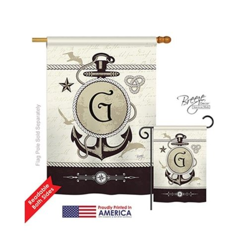 Breeze Decor 30189 Nautical G Monogram 2-Sided Vertical Impression House Flag - 28 x 40 in.
