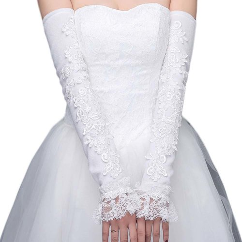 Bridal Wedding Gloves Party Dress Lace Long Gloves A02