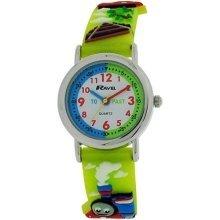 Ravel Time Teacher Boys 3D Train Design Green Strap Watch R1513.62A
