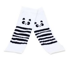 Girls Summer Outdoor Ride Sunscreen Cuff Protection Gloves White Big Eye Raccoon