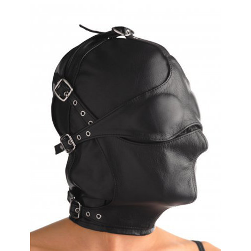 Asylum Leather Hood with Removable Blindfold and Muzzle S/M BDSM Masks - Strict Leather