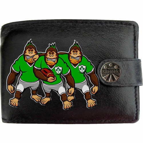Ireland Rugby Shirt Gorilla Team Mens Wallet Chain Leather Coin Pocket Klassek RFID Blocking Credit Card Slots and Metal Gift Box