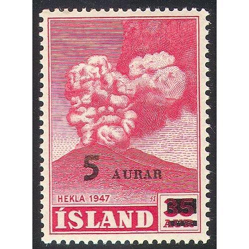 Iceland 1954 Volcano/ Mt Hekla/ Mountain/ Eruption/ Landscape/ 5a on 35a Surcharge 1v (n28223)