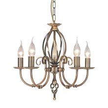 Aged Brass 5lt Chandelier - 5 x 60W E14 by Happy Homewares