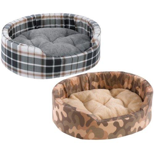 Dandy Cotton & Fur Tartan Bed Mixed Colours 95x60x23cm X3 (Pack of 3)