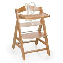 Hauck Gamma+ Wooden Height Adjustable Highchair with 5 Point Harness, Natural