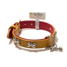 Adjustable Dogs Collar With Little Bone Charm YELLOW(Fit 29~36 neck)