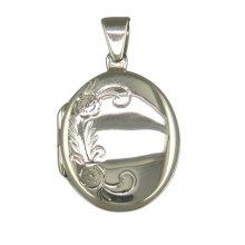 Sterling Silver Flower Pattern Oval Locket On A Snake Necklace