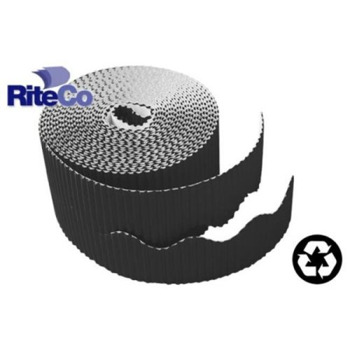 RiteCo Raydiant 22814 Riteco Trim-It Corrugated Scalloped Decorative  Border  Two  25 In  X 50 Ft  Strips Per Roll Black, 6 Rolls