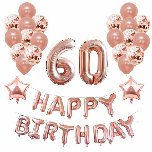 Yoart 60th Birthday Decorations Rose Gold For Women And Girl Party Supplies 39 Piece With Happy Banner Confetti Latex Balloons Star Foil On
